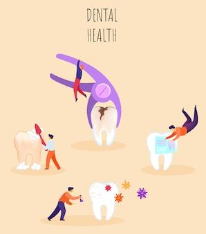 Tandheelkundige gezondheid illustratie, belettering.