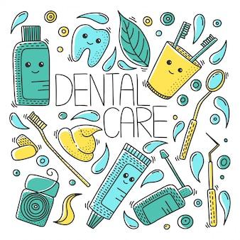 Tandheelkundige gezondheid naadloze patroon in doodle stijl.