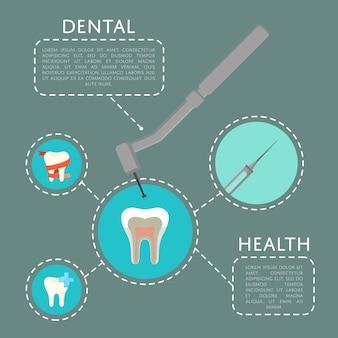 Tandheelkundige gezondheid sjabloon met tandarts boor