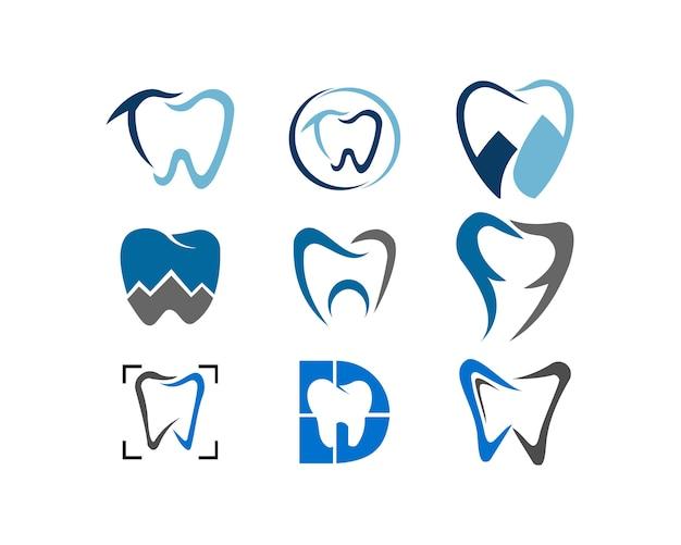 Tandheelkundige gezondheidszorg geneeskunde illustratie logo set