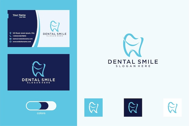 Tandheelkundige glimlach logo-ontwerp en visitekaartje