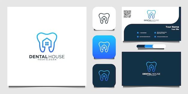 Tandheelkundige huis logo en visitekaartje premium vector