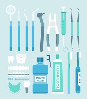 Tandheelkundige hulpmiddelen. verzameling van tandheelkundige instrumenten, medicijnen en gezond, tandzorgconcept.