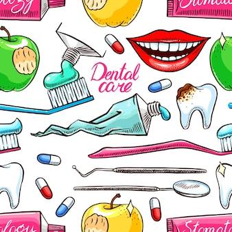Tandheelkundige instrumenten naadloze patroon