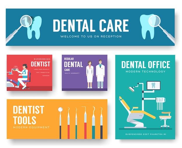 Tandheelkundige kantoor interieur informatiekaarten set