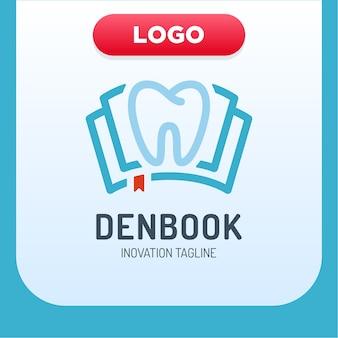 Tandheelkundige kliniek boek pictogram logo ontwerpelement
