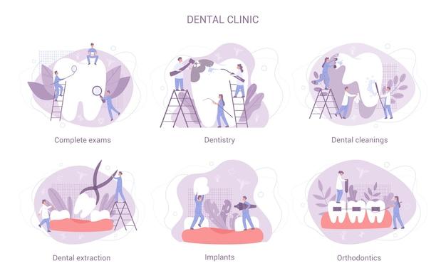 Tandheelkundige kliniek concept set. de groep kleine tandartsen in uniform behandelt reuzetand met behulp van medische apparatuur. idee van tandheelkundige zorg.