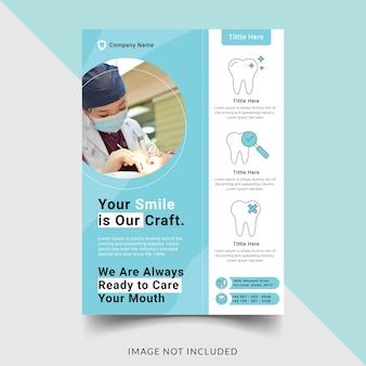 Tandheelkundige kliniek flyer sjabloonontwerp