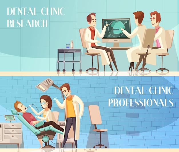 Tandheelkundige kliniek horizontale banners