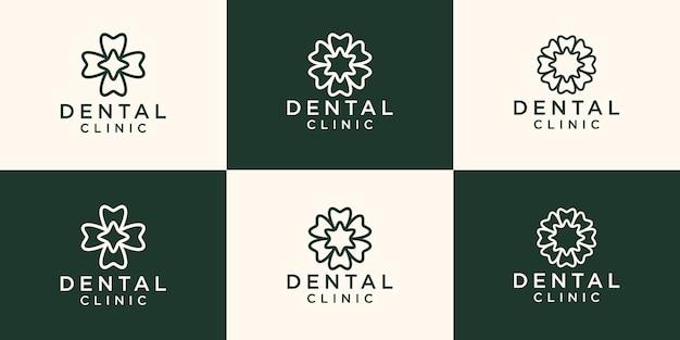 Tandheelkundige kliniek logo met een cirkelvormige bloem concept lijn kunststijl