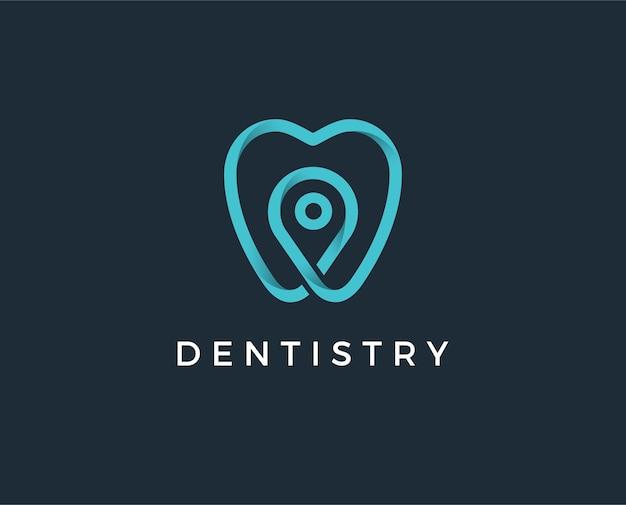 Tandheelkundige kliniek logo tand abstracte ontwerpsjabloon lineaire stijl. tandarts stomatologie arts logotype concept pictogram.
