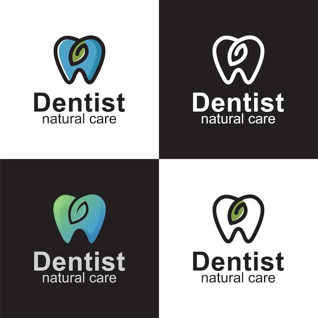 Tandheelkundige kliniek met bladsymbool, logo-ontwerp voor natuurlijke zorg voor tandartsen
