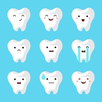 Tandheelkundige kliniek tanden set.