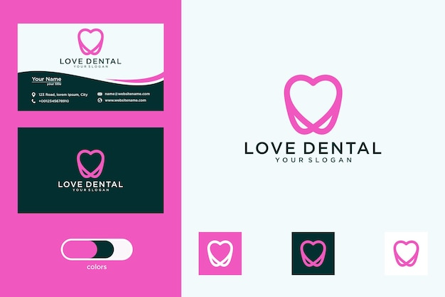 Tandheelkundige liefde met logo-ontwerp in lijnstijl en visitekaartje