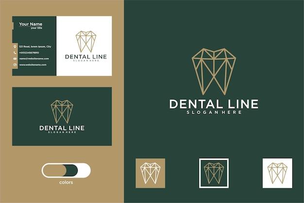 Tandheelkundige lijn kunst logo ontwerp en visitekaartje