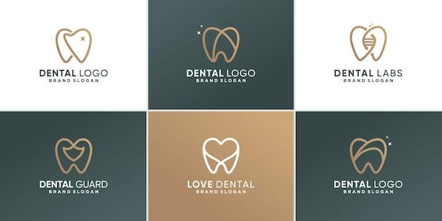Tandheelkundige logo-collectie met verschillende elementenconcept premium vector