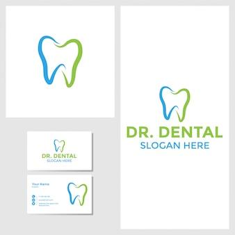 Tandheelkundige logo ontwerp inspiratie met visitekaartje mockup