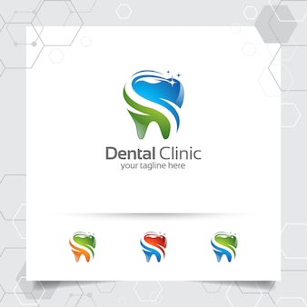 Tandheelkundige logo ontwerp vector met moderne kleurrijke concept voor tandarts.