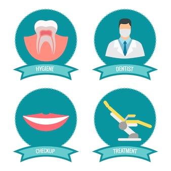 Tandheelkundige pictogrammen met arts
