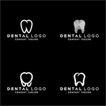 Tandheelkundige premade logo monogram eenvoudige tanden set