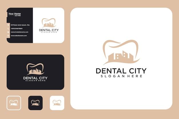 Tandheelkundige stad logo ontwerp en visitekaartje