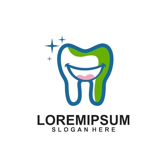 Tandheelkundige tand tanden stripfiguur logo
