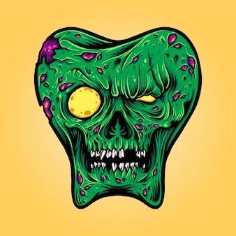 Tandheelkundige tanden mascotte zombie halloween monster illustraties