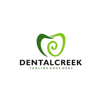 Tandheelkundige tandkliniek met groen bos logo-ontwerp