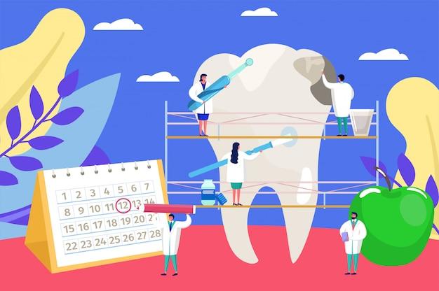 Tandheelkundige zorg, cartoon kleine artsen mensen aan het werk, tandarts checkup onderzoek voor tand probleem achtergrond