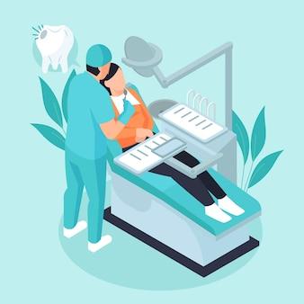 Tandheelkundige zorg concept isometrische stijl