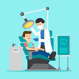 Tandheelkundige zorg concept plat ontwerp