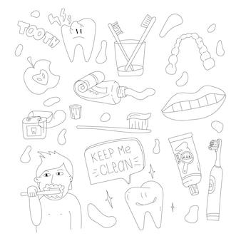 Tandheelkundige zorg doodle set eenvoudige tandverzorging illustratie tools voor gezonde tanden dagelijkse routine