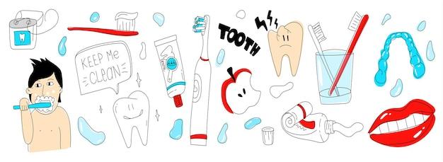 Tandheelkundige zorg doodle set eenvoudige tandverzorging illustratie tools voor gezonde tanden floss tandenborstel