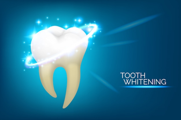 Tandheelkundige zorg en tanden bleken banner. mondhygiëne illustratie set, realistische stijl. tandheelkunde of stomatologie