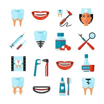 Tandheelkundige zorg icon set