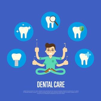 Tandheelkundige zorg illustratie met mannelijke tandarts