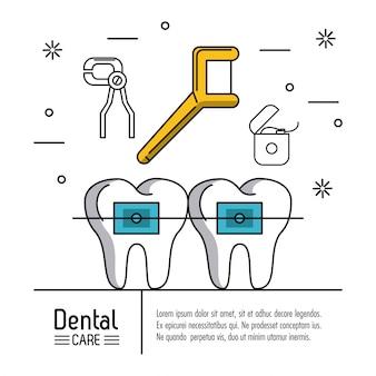 Tandheelkundige zorg infographic achtergrond