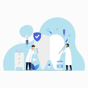 Tandheelkundige zorg kliniek voor controle ontwerp concept illustratie