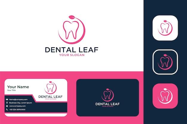 Tandheelkundige zorg met bladlogo-ontwerp en visitekaartje