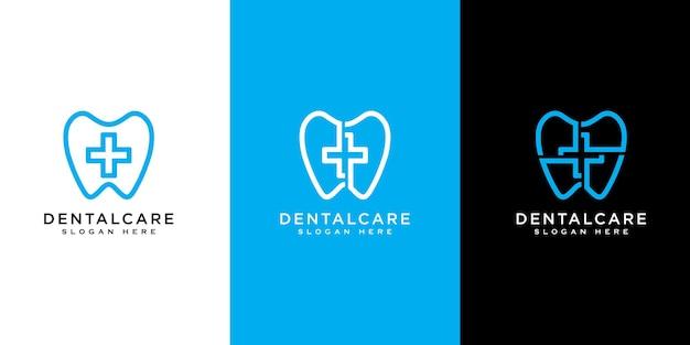 Tandheelkundige zorg of plus logo ontwerp vector lijnstijl