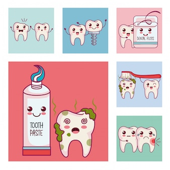 Tandheelkundige zorg set pictogrammen