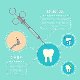 Tandheelkundige zorg sjabloon met medische instrumenten
