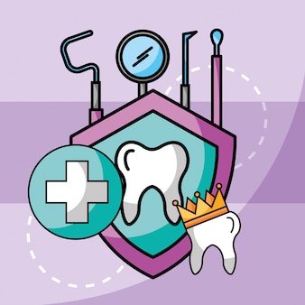 Tandheelkundige zorg tand kroon gereedschap bescherming