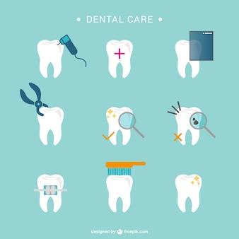 Tandheelkundige zorg tand pictogrammen