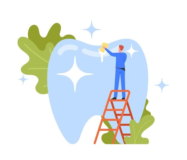Tandheelkundige zorgconcept. klein tandartskarakter in medische mantel die enorme tand schoonmaakt en poetst. dokter mop glanzende plaque, gezondheidszorg, mondbehandelingsprogramma, check-up cartoon vectorillustratie