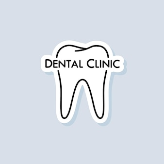 Tandkliniek sticker. tandarts pictogram. tandheelkunde logo. stomatologie. tanden zorgconcept. vector op geïsoleerde achtergrond. eps-10.