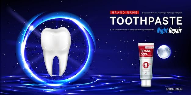 Tandpasta voor promo-poster voor nachtreparatie