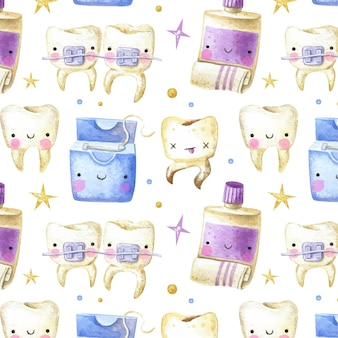 Tandpatroon voor kinderen met tandpasta en tandzijde