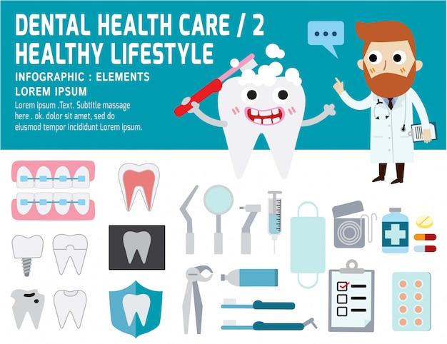 Tandprobleemgezondheidszorg, infographic gezondheid van elementen, tandconcept