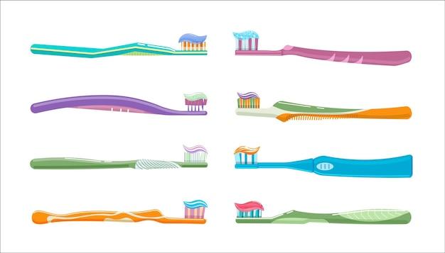 Tandtandenborstel en tandpasta voor de preventie van orale ziekten. tandenborstel voor gezonde mondhygiëne, glazuur poetsen whitening en reiniging vectorillustratie geïsoleerd op een witte achtergrond